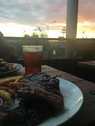 Ribs, beer and a sunset