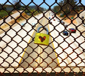 Love lock at the 10 freeway