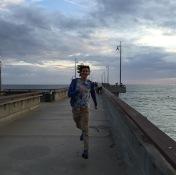 Me running on Venice Pier